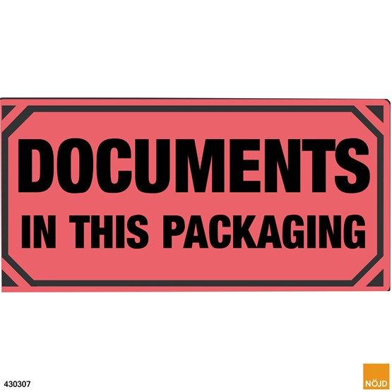 "Etikett ""Documents in this packaging"""